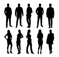 Business people, group of business men and women. Set of vector silhouettes