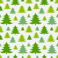 Green Christmas trees seamless pattern