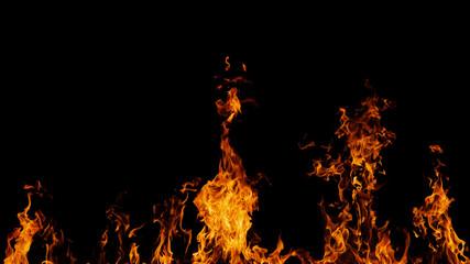 Staande foto Vlam Blazing fire flame on black background