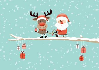 Wall Mural - Card Rudolph Gift Pulling Santa Sleigh Tree Retro