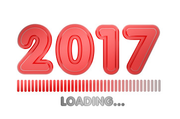 2017 year loading progress bar. 3d render. isolated on white