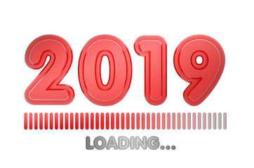 2019 year loading progress bar. 3d render. isolated on white
