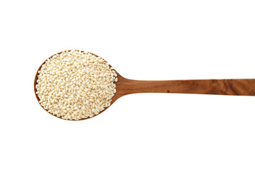 White sesame on wood spoon isolated on white background