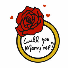 Will you marry me word in rose ring cartoon illustration on white background