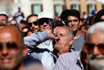 5-Star Movement supporters protest in front of Montecitorio government palace in Rome