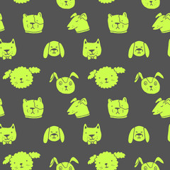 Vector seamless pattern with dogs. Hand drawn ink illustration, sticker design