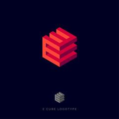 E cube logo. Building Logo. E red monogram.