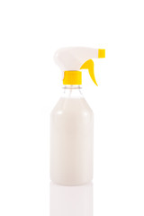 spray bottle with insecticide on white background
