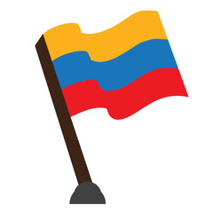 Isolated flag of Colombia on a white background, Vector illustration