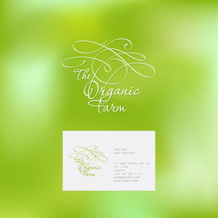 Organic farm logo. White monogram on a green background.