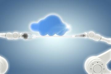 Composite image of robotic hands holding blue cloud over blue
