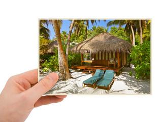 Hand and Maldives beach image (my photo)