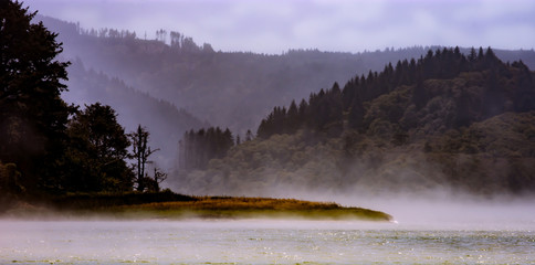 Foggy landscape of a lagoon in California