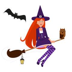 A beautiful witch flies on a broom.
