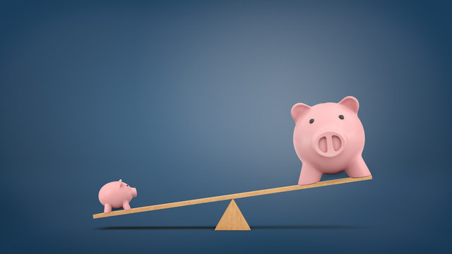 3d rendering of a wooden seesaw on chalkboard background with a small piggy bank overweighing a large one.