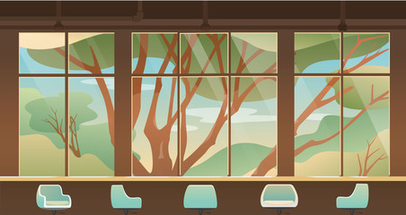 glass window with nature and forest view outside, empty cafe, coffee shop bar and seat.
