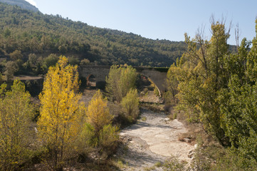 Medieval bridge in the Maestrazgo, Castellón, Spain