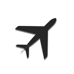 black plane with a shadow. aircraft abstract. white background. vector illustration