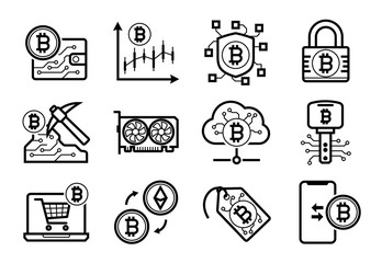 Cryptocurrency Bitcoin Etherium mining icons set in Black and White
