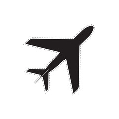 black plane with a dotted line. aircraft abstract. white background. monochrome texture. vector illustration