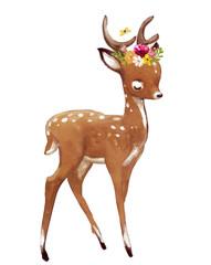 cute watercolor summer deer