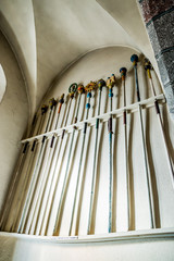 Sceptres dans l'église du fort de Laguiole