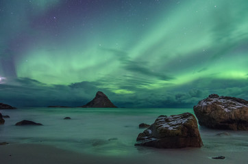 aurora borealis on the coast of Andenes in Norway in winter