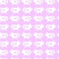 Pink seamless pattern with cute pigs
