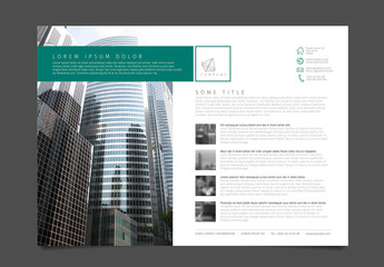 Business Flyer Layout with Green and Gray Accents