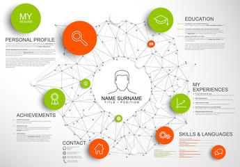 Dark Orange and Green Digital Resume Layout
