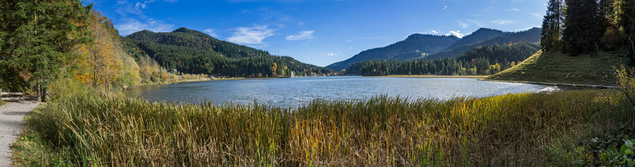 Panoramic image of Lake Spitzingsee in the Bavarian Alps Wall mural