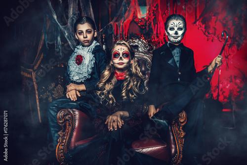 halloween children in costumes
