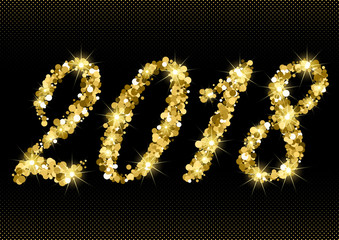 Happy New Year 2018 with numbers from golden glitter with sparkles on black halftone background. Vector illustration