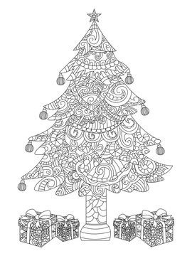 Christmas tree with gifts coloring raster