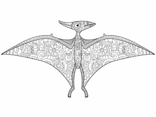 Pterodactyl dragon coloring raster for adults