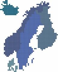 Foto op Plexiglas Wereldkaart Square shape Nordic counties map on white background. Vector illustration.