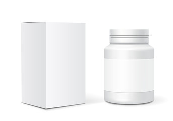 Medicine blank plastic bottle, cardboard packaging box. Realistic vector