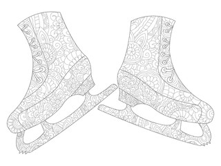 A pair of skates coloring raster for adults