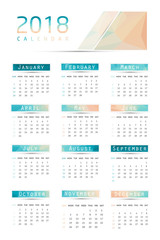 Simple calendar 2018.Abstract calendar for 2018.Week starts from sunday.