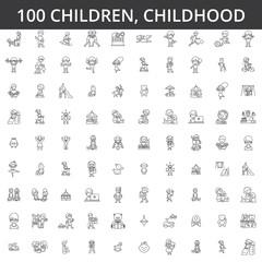 Children, childhood, preschooler, newborn, kid health, playing games, kindergarten, teenager lifestyle line icons signs Illustration vector concept. Editable strokes