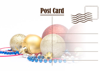 Christmas greeting card. Postcard on white background and copy space