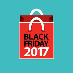 flat black friday 2017 shopping bag red on blue