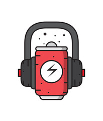 a can with an effervescent beverage and headphones,music cola,relaxation with music and drink, vector image, flat design, simple icon