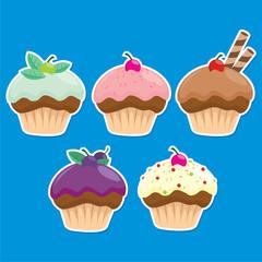 5 Cupcakes Vector
