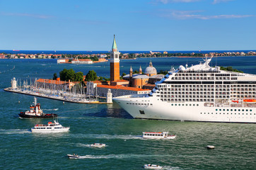 Cruise ship moving through San Marco canal in Venice, Italy