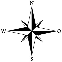 Compass rose or windrose / rose of the winds flat icon for apps and websites / rose des vents pour sites web et applications