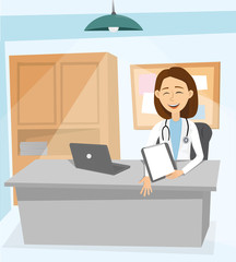 Modern medicine and healthcare system. Medical worker therapist at his desk. Doctor works at his computer in office of cabinet. Illustration, cartoon style.