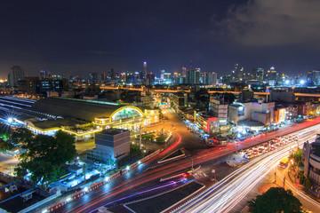 Top view of Blur light traffic at Hua Lamphong Station public landmark of train station