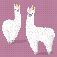 set of cute cartoon lama alpaca with unicorn horn.polka dot seamless background.Vector Illustration.unique design for cards, posters,t-shirts,invitations