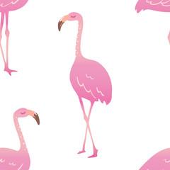 seamless pink cartoon flamingo pattern vector illustration